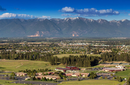 Flathead Valley Community College sits in a dramatic setting with the Mission Mountains in the Background
